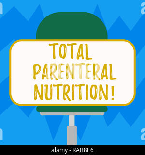 Text sign showing Total Parenteral Nutrition. Conceptual photo infusing a specific form of food through a vein Blank Rectangular Shape Sticker Sitting - Stock Photo