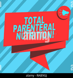Text sign showing Total Parenteral Nutrition. Conceptual photo infusing a specific form of food through a vein Folded 3D Ribbon Sash Megaphone Speech  - Stock Photo