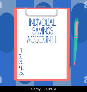 Handwriting text writing Individual Savings Account. Concept meaning Savings account offered in the United Kingdom Blank Sheet of Bond Paper on Clipbo - Stock Photo