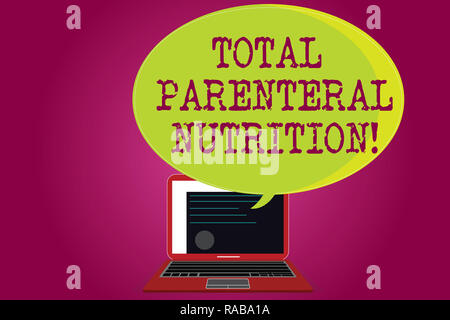 Conceptual hand writing showing Total Parenteral Nutrition. Business photo text infusing specific form of food through a vein Certificate Layout on La - Stock Photo