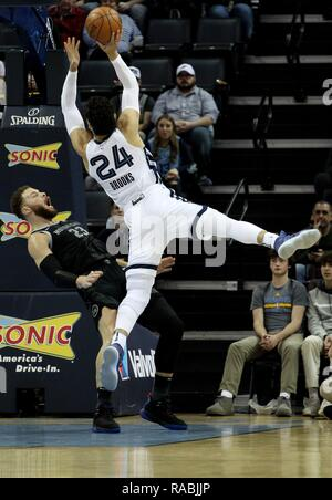 Memphis, United States. 02nd Jan, 2019. Detroit Pistons Blake Griffin (L) draws an offensive foul against Memphis Grizzlies forward Dillon Brooks, of Canada, (R) at FedExForum in Memphis, Tennessee, USA, 2 January 2019. Credit: Mike Brown/EFE/Alamy Live News - Stock Photo