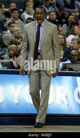 Memphis, United States. 02nd Jan, 2019. Detroit Pistons head coach Dwane Casey communicates with his team against the Memphis Grizzlies at FedExForum in Memphis, Tennessee, USA, 2 January 2019. Credit: Mike Brown/EFE/Alamy Live News - Stock Photo