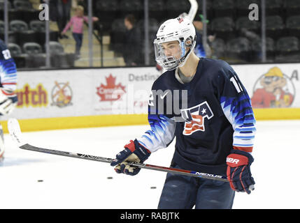 December 29, 2018 US National Under 18 team forward Ryder Rolston (12) takes part in a pre-game skate before an exhibition hockey game against the University of North Dakota Fighting Hawks at Ralph Engelstad Arena in Grand Forks, ND. Photo by Russell Hons/CSM - Stock Photo