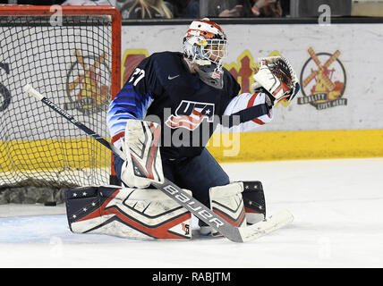 December 29, 2018 US National Under 18 team goaltender Cameron Rowe (27) warms up during a pre-game skate before an exhibition hockey game against the University of North Dakota Fighting Hawks at Ralph Engelstad Arena in Grand Forks, ND. Photo by Russell Hons/CSM - Stock Photo