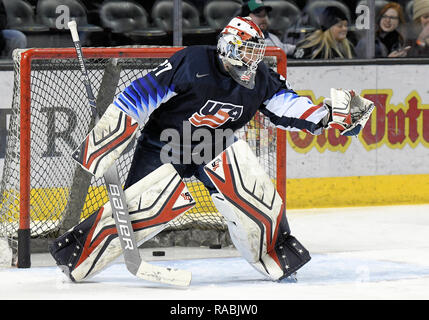December 29, 2018 US National Under 18 team goaltender Cameron Rowe (27) make a save during warmups before an exhibition hockey game against the University of North Dakota Fighting Hawks at Ralph Engelstad Arena in Grand Forks, ND. Photo by Russell Hons/CSM - Stock Photo