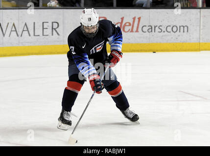 December 29, 2018 US National Under 18 team forward Cole Caufield (13) takes part in a pre-game skate before an exhibition hockey game against the University of North Dakota Fighting Hawks at Ralph Engelstad Arena in Grand Forks, ND. Photo by Russell Hons/CSM - Stock Photo