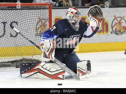December 29, 2018 US National Under 18 team goaltender Cameron Rowe (27) warms up before an exhibition hockey game against the University of North Dakota Fighting Hawks at Ralph Engelstad Arena in Grand Forks, ND. Photo by Russell Hons/CSM - Stock Photo