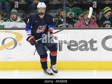 December 29, 2018 US National Under 18 team forward Trevor Zegras (11) takes part in a pre-game skate before an exhibition hockey game against the University of North Dakota Fighting Hawks at Ralph Engelstad Arena in Grand Forks, ND. Photo by Russell Hons/CSM - Stock Photo