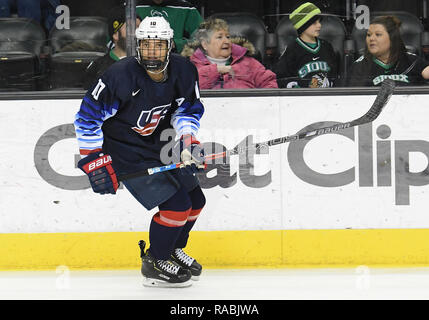 December 29, 2018 US National Under 18 team defenseman Marshall Warren (10) takes part in a pre-game skate before an exhibition hockey game against the University of North Dakota Fighting Hawks at Ralph Engelstad Arena in Grand Forks, ND. Photo by Russell Hons/CSM - Stock Photo
