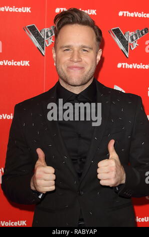London, UK. 3rd Jan, 2019. Olly Murs at The Voice UK TV show launch in W Hotel, Leicester Square. Credit: Keith Mayhew/SOPA Images/ZUMA Wire/Alamy Live News - Stock Photo