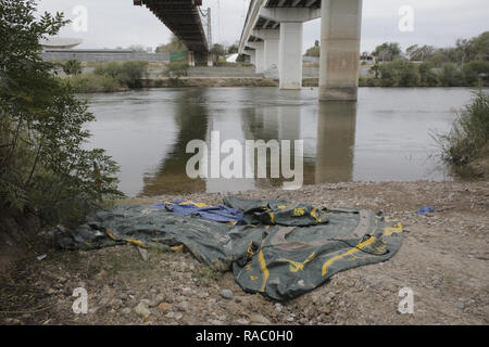 January 17, 2018 - Discarded rafts used by migrants to cross the Rio Grande River are seen in Roma, Texas on January 17, 2018. (Credit Image: © David Ryder/ZUMA Wire) - Stock Photo