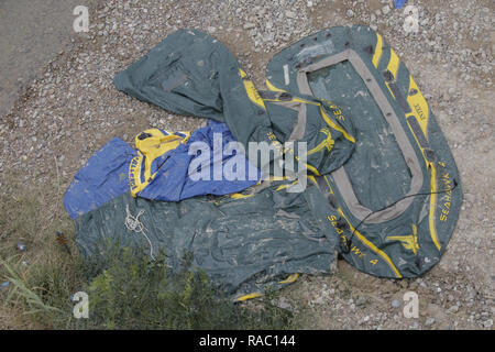 Discarded rafts used by migrants to cross the Rio Grande River are seen in Roma, Texas on January 17, 2018. 17th Jan, 2018. Credit: David Ryder/ZUMA Wire/Alamy Live News - Stock Photo