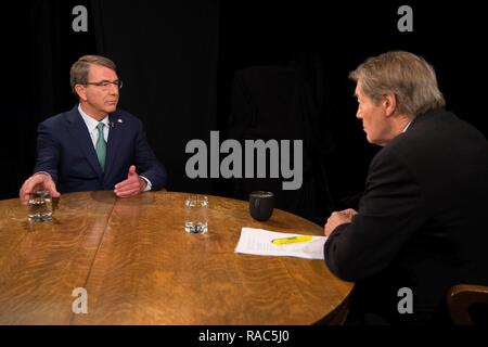 Secretary of Defense Ash Carter is interviewed by Charlie Rose at the Bloomberg Television headquarters in New York City on Jan. 12, 2017. - Stock Photo