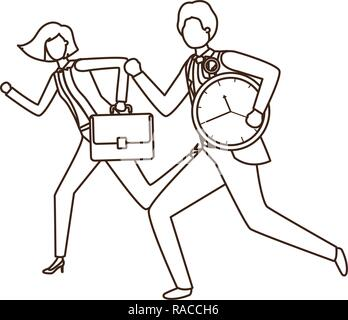 business couple with clock avatar character - Stock Photo
