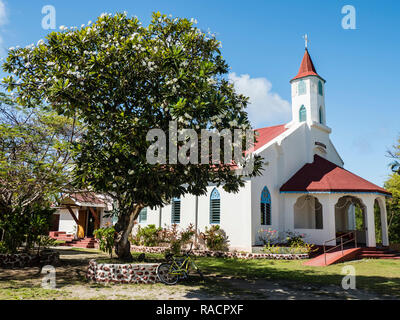 Church built from coral in the small town of Rotoava on Fakarava Atoll, Tuamotus, French Polynesia, South Pacific, Pacific - Stock Photo
