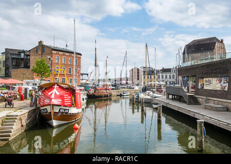 Harbour of the Hanseatic town of Stralsund, UNESCO World Heritage Site, Mecklenburg-Vorpommern, Germany, Europe - Stock Photo