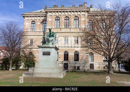 The square outside the Croatian academy of sciences and art in Zagreb, Croatia - Stock Photo
