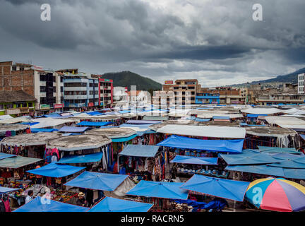 Saturday Handicraft Market, Plaza de los Ponchos, elevated view, Otavalo, Imbabura Province, Ecuador, South America - Stock Photo