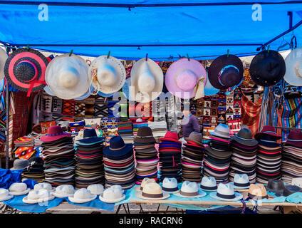Saturday Handicraft Market, Plaza de los Ponchos, Otavalo, Imbabura Province, Ecuador, South America - Stock Photo