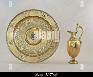 Ewer and basin with scenes of land and sea battles constantly the Eighty Years' War, Adam van Vianen (I), 161 reimagined - Stock Photo
