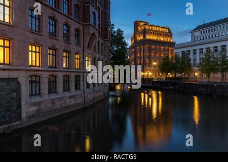 The Laeiszhof and the Patriotische Gesellschaft Kontorhaeuser at dusk, Hamburg, Germany, Europe - Stock Photo