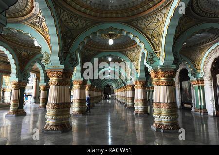 Durbar hall with sculpted pillars inside Mysore Palace, constructed between 1897 and 1912, Mysore, Karnataka, India, Asia - Stock Photo