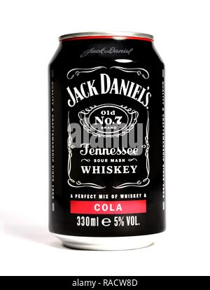Jack Daniels Whiskey and cola 330ml - Stock Photo