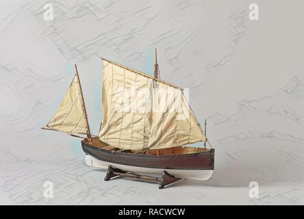 A one-masted sailing boat with a mainsail and jib rigged fore and aft, Anonymous, c. 188. Reimagined - Stock Photo