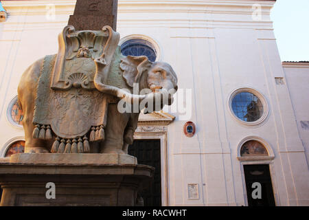 ROME, ITALY - December 28, 2018: The 'Elephant with Obelisk' statue is seen at Piazza della Minerva square on October 31, 2017 in Rome, Italy. Rome Rome is one of the most popular tourist destinations. - Stock Photo