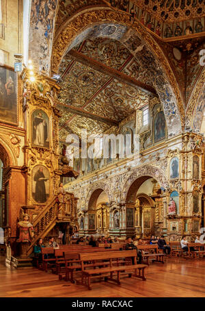 Saint Francis Church, interior, Quito, Pichincha Province, Ecuador, South America - Stock Photo