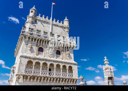 Fortified floors and terrace view of the Torre de Belem (Belem Tower), medieval defensive tower on the bank of Tagus River, UNESCO, Lisbon, Portugal - Stock Photo