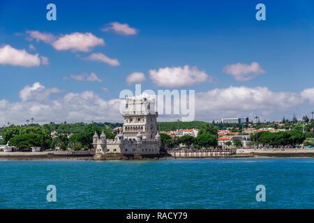 Torre de Belem (Belem Tower), medieval defensive tower on the bank of Tagus River, UNESCO World Heritage Site, Belem, Lisbon, Portugal, Euyrpe - Stock Photo