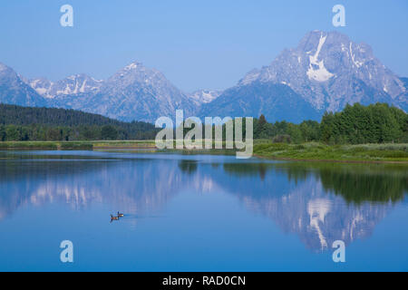 Mount Moran from Oxbow Bend, Snake River, Grand Teton National Park, Wyoming, United States of America, North America