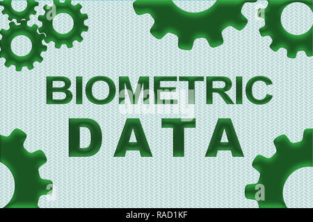 BIOMETRIC DATA sign concept illustration with green gear wheel figures on pale green background - Stock Photo