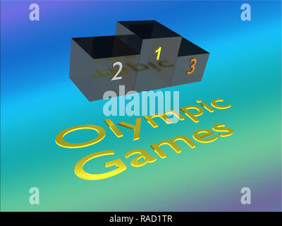 3D illustration of Olympic Games title with a podium, and a colored gradient as a background - Stock Photo