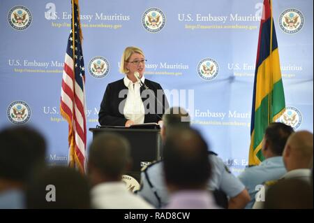 Melanie Anne Zimmerman, U.S. Embassy Charge D'Affaires, delivers remarks during the Cutlass Express 2017 opening ceremonies at Port Louis, Mauritius, Jan. 31, 2017. Cutlass Express 2017, sponsored by U.S. Africa Command (AFRICOM), is designed to improve regional cooperation, maritime domain awareness (MDA) and information sharing practices to increase capabilities of East African and Western Indian Ocean nations to counter illicit maritime activity. - Stock Photo