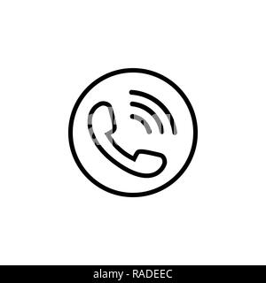 Phone line icon in black with waves - Stock Photo