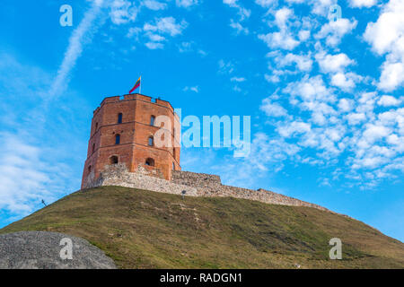 Tower of Gediminas in Vilnius, Lithuania. Historic symbol of Vilnius and Lithuania - Stock Photo