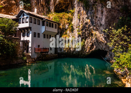 Tekke and the spring of the river Buna in the city of Blagaj in Bosnia - Stock Photo
