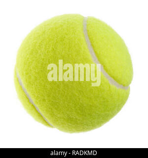 Isolated objects: single yellow green tennis ball on white background - Stock Photo