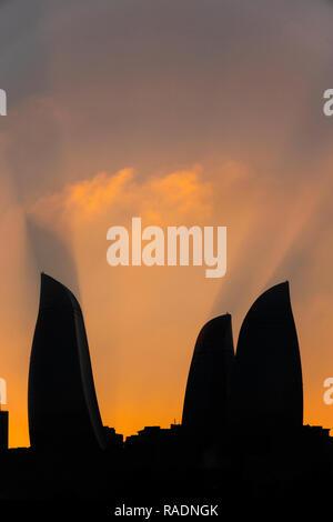 Silhouette of Flame Towers, Baku, Azerbaijan - Stock Photo