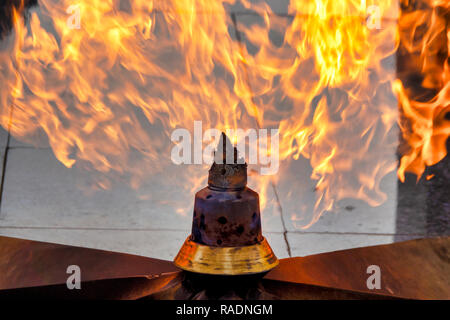 Eternal Flame at Martyrs Lane in Baku, Azerbaijan - Stock Photo