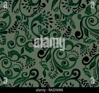 Green floral pattern on black background. Hand made watercolor seamless texture for clothes, fabric - Stock Photo