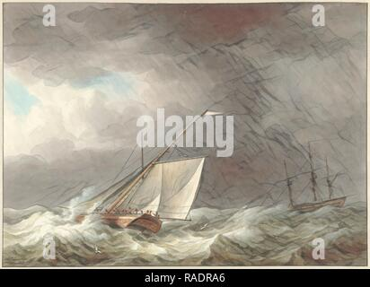 Two sailing ships in rough seas, Martinus Schouman, 180. Reimagined by Gibon. Classic art with a modern twist reimagined - Stock Photo