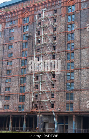 Derelict Victorian tobacco warehouse at the disused Stanley Dock on the Liverpool waterfront UK - Stock Photo