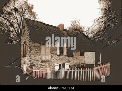 Old home of David Rittenhouse, Fairmount Park, Philadelphia, Pa, Stone buildings, Parks, United States, Pennsylvania reimagined - Stock Photo
