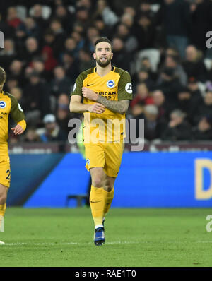 Shane Duffy of Brighton after scoring their second goal during the Premier League match between West Ham United and Brighton & Hove Albion at the London Stadium . 02 January 2019 Editorial use only. No merchandising. For Football images FA and Premier League restrictions apply inc. no internet/mobile usage without FAPL license - for details contact Football Dataco - Stock Photo