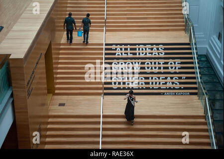 20.12.2018, Singapore, Republic of Singapore, Asia - Staircase at the National Gallery Singapore with a quote of the British sculptor Anish Kapoor. - Stock Photo