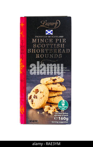 box of Iceland Luxury Mince Pie Scottish Shortbread Rounds produced in Scotland isolated on white background - Stock Photo