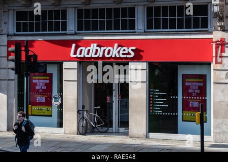 London, United Kingdom - October 18 2018:   The entrance to Ladbrokes Bookmakers branch on Whitehall - Stock Photo